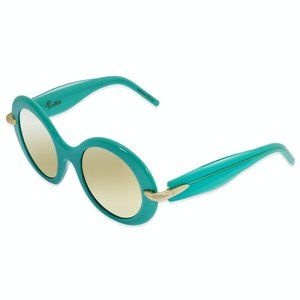 Pomellato Shiny Turquoise Round Sunglasses:
